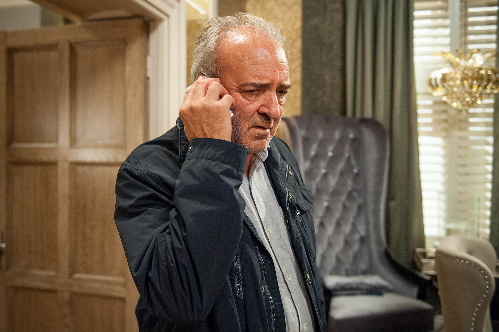 FROM ITV STRICT EMBARGO - No Use Before Tuesday 12 July 2016 Emmerdale - 7563 Thursday 21 July 2016 - 2nd Ep Lawrence White [JOHN BOWE] is determined to play dirty and calls his lawyer about starting divorce proceedings against Bernice. Picture contact: david.crook@itv.com on 0161 952 6214 Photographer - Andrew Boyce This photograph is (C) ITV Plc and can only be reproduced for editorial purposes directly in connection with the programme or event mentioned above, or ITV plc. Once made available by ITV plc Picture Desk, this photograph can be reproduced once only up until the transmission [TX] date and no reproduction fee will be charged. Any subsequent usage may incur a fee. This photograph must not be manipulated [excluding basic cropping] in a manner which alters the visual appearance of the person photographed deemed detrimental or inappropriate by ITV plc Picture Desk. This photograph must not be syndicated to any other company, publication or website, or permanently archived, without the express written permission of ITV Plc Picture Desk. Full Terms and conditions are available on the website www.itvpictures.com