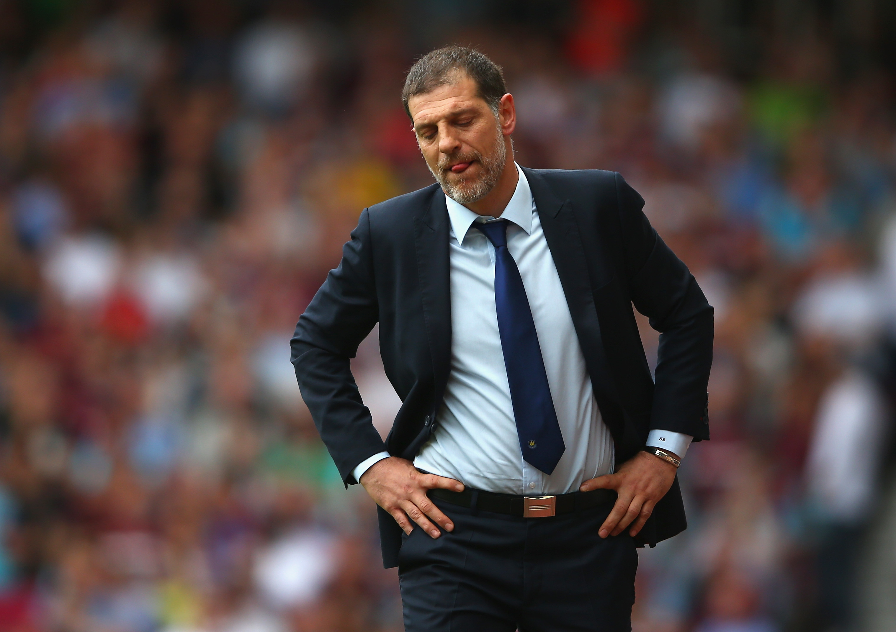 LONDON, ENGLAND - MAY 07: Manager Slaven Bilic of West Ham United reacts during the Barclays Premier League match between West Ham United and Swansea City at the Boleyn Ground, May 7, 2016, London, England. (Photo by Paul Gilham/Getty Images)