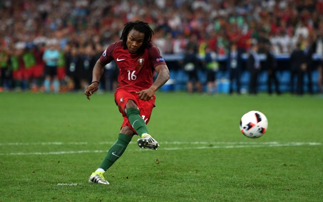 MARSEILLE, FRANCE - JUNE 30: Renato Sanches of Portugal scores at the penalty shootout during the UEFA EURO 2016 quarter final match between Poland and Portugal at Stade Velodrome on June 30, 2016 in Marseille, France. (Photo by Laurence Griffiths/Getty Images)