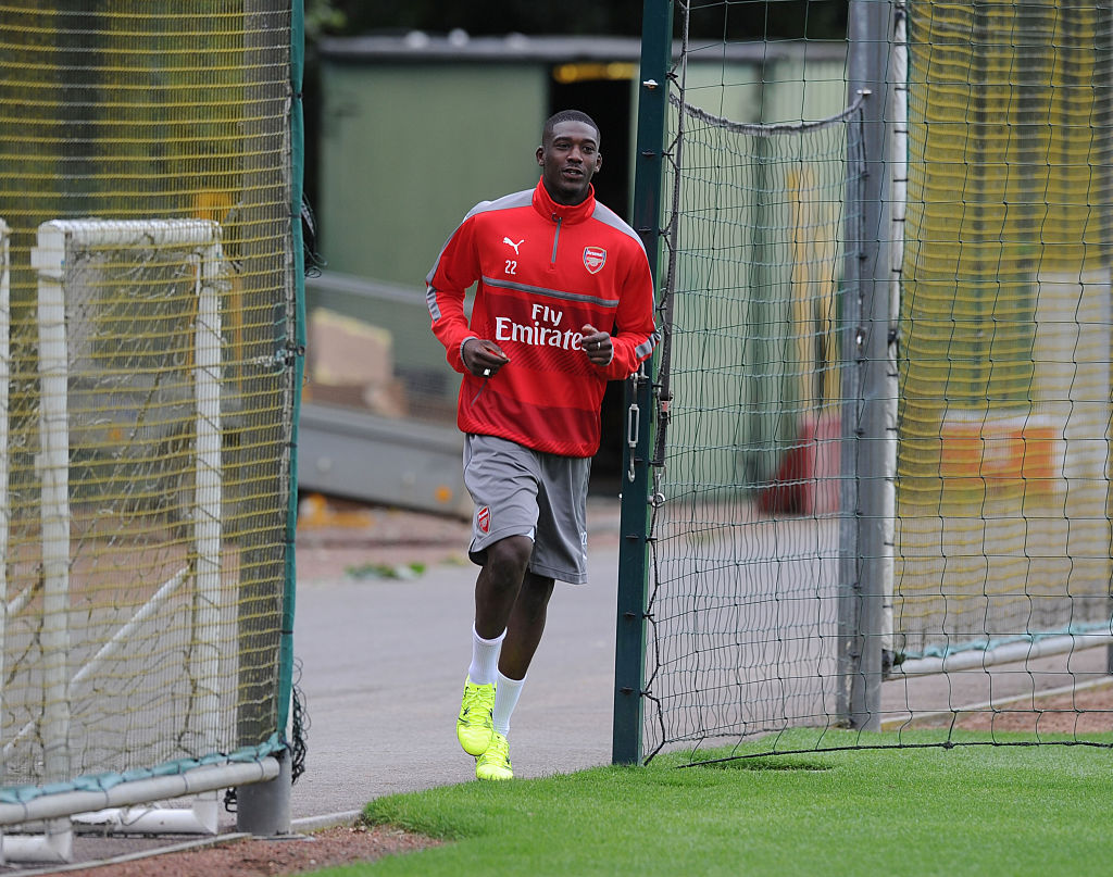 ST ALBANS, ENGLAND - JULY 05: Yaya Sanogo of Arsenal before a training session at London Colney on July 5, 2016 in St Albans, England. (Photo by Stuart MacFarlane/Arsenal FC via Getty Images)