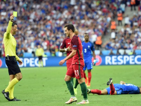 Cedric Soares booked for shocking challenge on Dimitri Payet minutes after Cristiano Ronaldo withdrawal