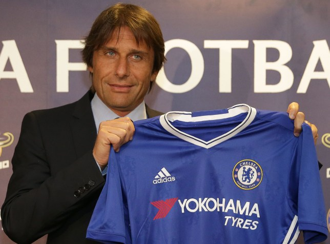 Chelsea's newly appointed Italian manager Antonio Conte holds a Chelsea football shirt as he poses for photographs during a press conference at the club's Stamford Bridge stadium in London on July 14, 2016. Conte will take over as Chelsea manager for the upcoming season and said after Italy's exit in Euro 2016 that he would not return to coach Italy as he was made for the cut and thrust of club football. / AFP / DANIEL LEAL-OLIVAS / RESTRICTED TO EDITORIAL USE. No use with unauthorized audio, video, data, fixture lists, club/league logos or 'live' services. Online in-match use limited to 75 images, no video emulation. No use in betting, games or single club/league/player publications. / (Photo credit should read DANIEL LEAL-OLIVAS/AFP/Getty Images)