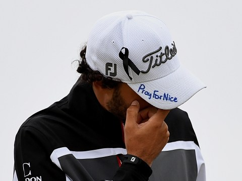 French golfer Clement Sordet wears Pray For Nice hat at The Open after Bastille Day attack