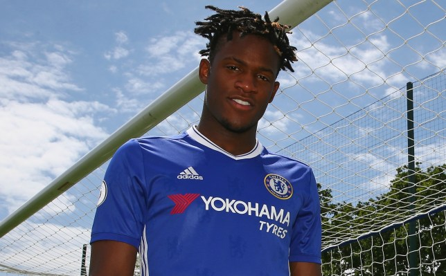 COBHAM, ENGLAND - JULY 03: (EXCLUSIVE COVERAGE) Chelsea FC's new signing Michy Batshuayi at Chelsea Training Ground on July 2, 2016 in Cobham, England. (Photo by Chelsea FC via Getty Images)