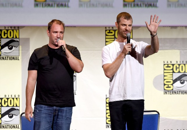 "SAN DIEGO, CA - JULY 22: Writer/producers Trey Parker (L) and Matt Stone attend Comedy Central ""South Park 20"" during Comic-Con International 2016 at San Diego Convention Center on July 22, 2016 in San Diego, California. (Photo by Kevin Winter/Getty Images)"