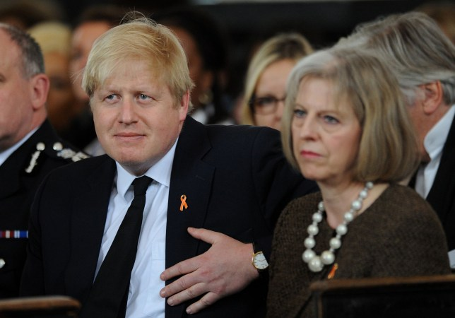 "File photo dated 22/04/13 of Boris Johnson and Theresa May. Cabinet minister Justine Greening has suggested that the pair should strike a deal to form a ""united leadership"" for the country and the Tory party, as Conservatives jostled to replace the Prime Minister. PRESS ASSOCIATION Photo. Issue date: Sunday June 26, 2016. See PA story POLITICS EU. Photo credit should read: Andrew Matthews/PA Wire"