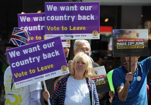 Vote leave supporters wait for Ukip Leader Nigel Farage to arrive in Clacton-on-Sea in Essex for Brexit campaigning ahead of the EU referendum vote on Thursday June 23.