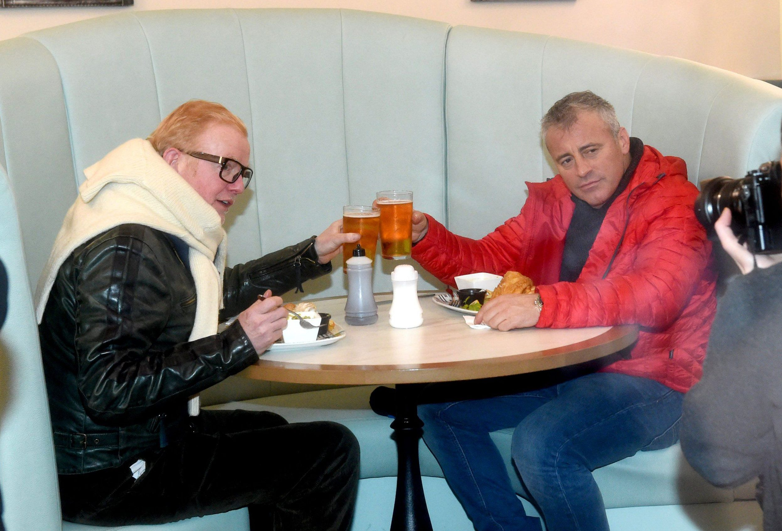Mandatory Credit: Photo by MCPIX/REX/Shutterstock (5588863d)nChris Evans and Matt LeBlancn'Top Gear' TV show filming, Blackpool, Britain - 19 Feb 2016nTop Beer !!! New presenters Chris Evans and Matt LeBlanc celebrate the end of their race to Blackpool with fish n chips and beer.n