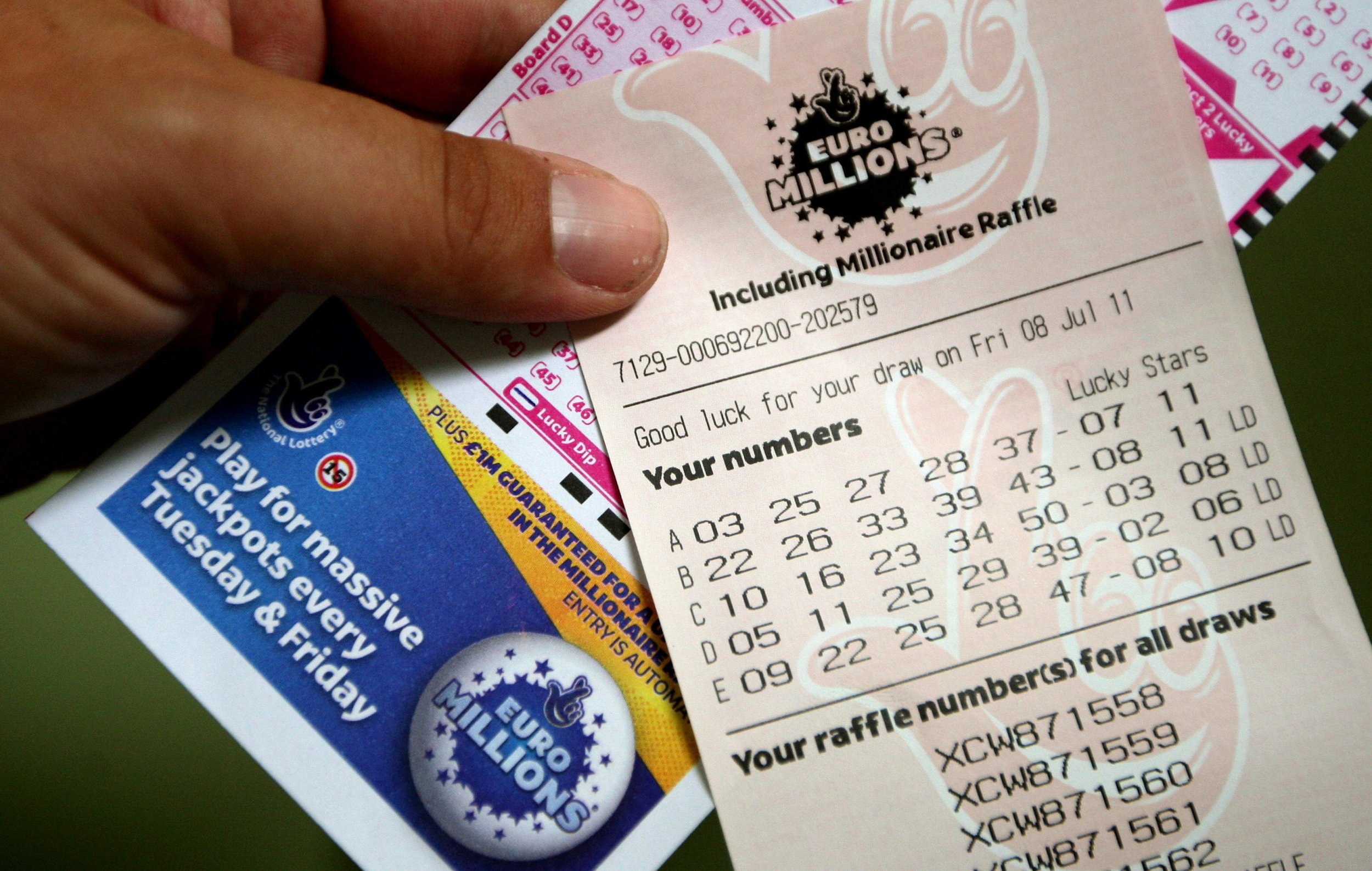 Credit: PA. A general view of a EuroMillions lottery ticket for tonight's draw.