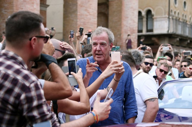 7.July.2016 - Vicenza ¿?¬? Italy *AVAILABLE FOR UK SALE ONLY* Jeremy Clarkson filming new tv series 'Grand Tour' in Vicenza, northern Italy. The tv presenter seen here is mobed by fans. BYLINE MUST READ : CIAO PIX/XPOSUREPHOTOS.COM ***UK CLIENTS - PICTURES CONTAINING CHILDREN PLEASE PIXELATE FACE PRIOR TO PUBLICATION *** *UK CLIENTS MUST CALL PRIOR TO TV OR ONLINE USAGE PLEASE TELEPHONE 0208 344 2007**