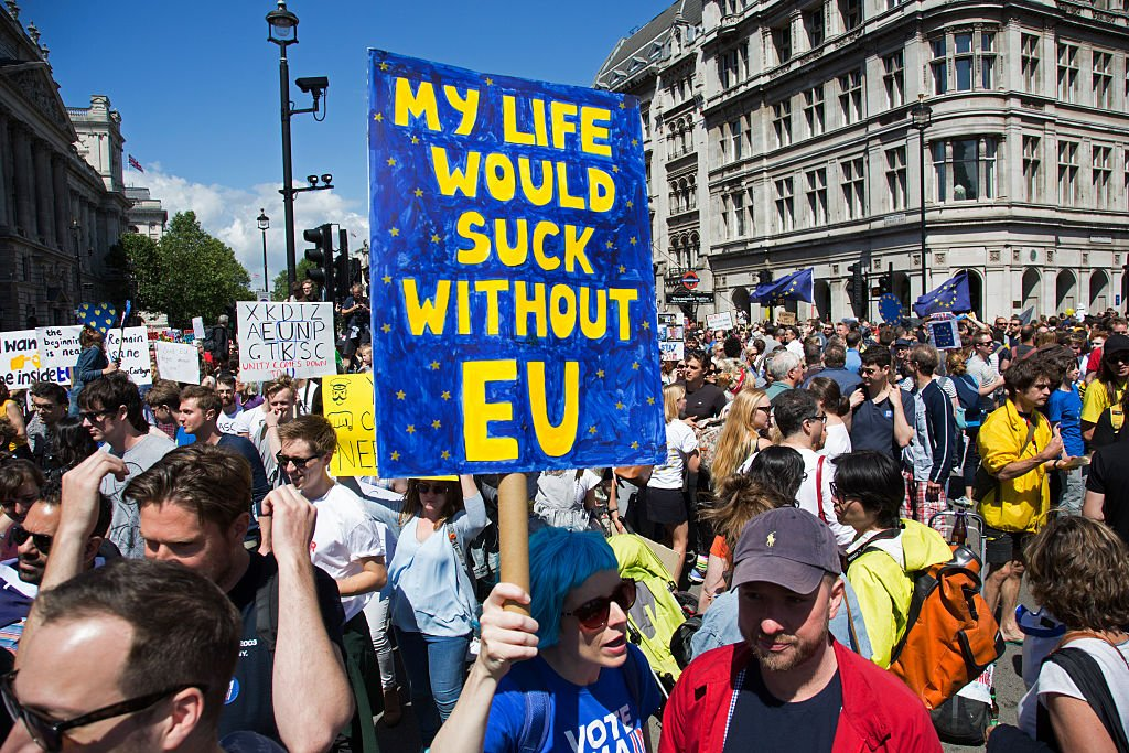 Tens of thousands of people protest in the March for Europe against Brexit demonstration following a Leave result in the EU Referendum on July 2nd 2016 in London, United Kingdom. The march in the capital brings together protesters from all over the country, angry at the lies and misinformation that the Leave Campaign fed to the British people during the EU referendum. Since the vote was announced, there have been demonstrations, protests and endless political comment in all forms of media. Half of the country very displeased with the result and the prospect of being taken out of the European Union against their will, and with uncertainty as to what will happen next in the politics surrounding the exit from Europe.