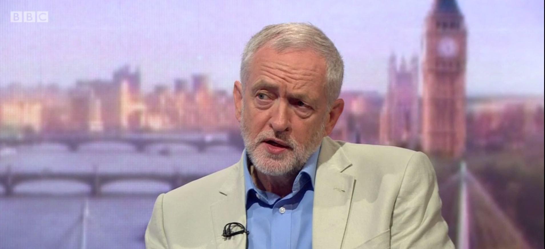 Jeremy Corbyn on Andrew Marr show Angela Eagle Credit BBC