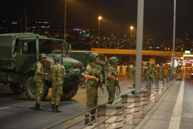Turkish military block access to the Bosphorus bridge, which links the city's European and Asian sides, in Istanbul, Turkey, July 15, 2016. REUTERS/Stringer