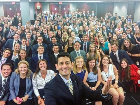 Everybody's mocking Republican speaker Paul Ryan's Capitol Hill intern selfie