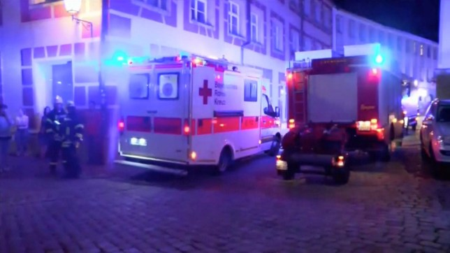 Emergency workers and vehicles are seen following an explosion in Ansbach, near Nuremberg July 25, 2016, in this still image taken from video. Courtesy News5/via Reuters TVATTENTION EDITORS - THIS IMAGE WAS PROVIDED BY A THIRD PARTY. EDITORIAL USE ONLY. NO RESALES. NO ARCHIVE. GERMANY OUT. NO COMMERCIAL OR EDITORIAL SALES IN GERMANY