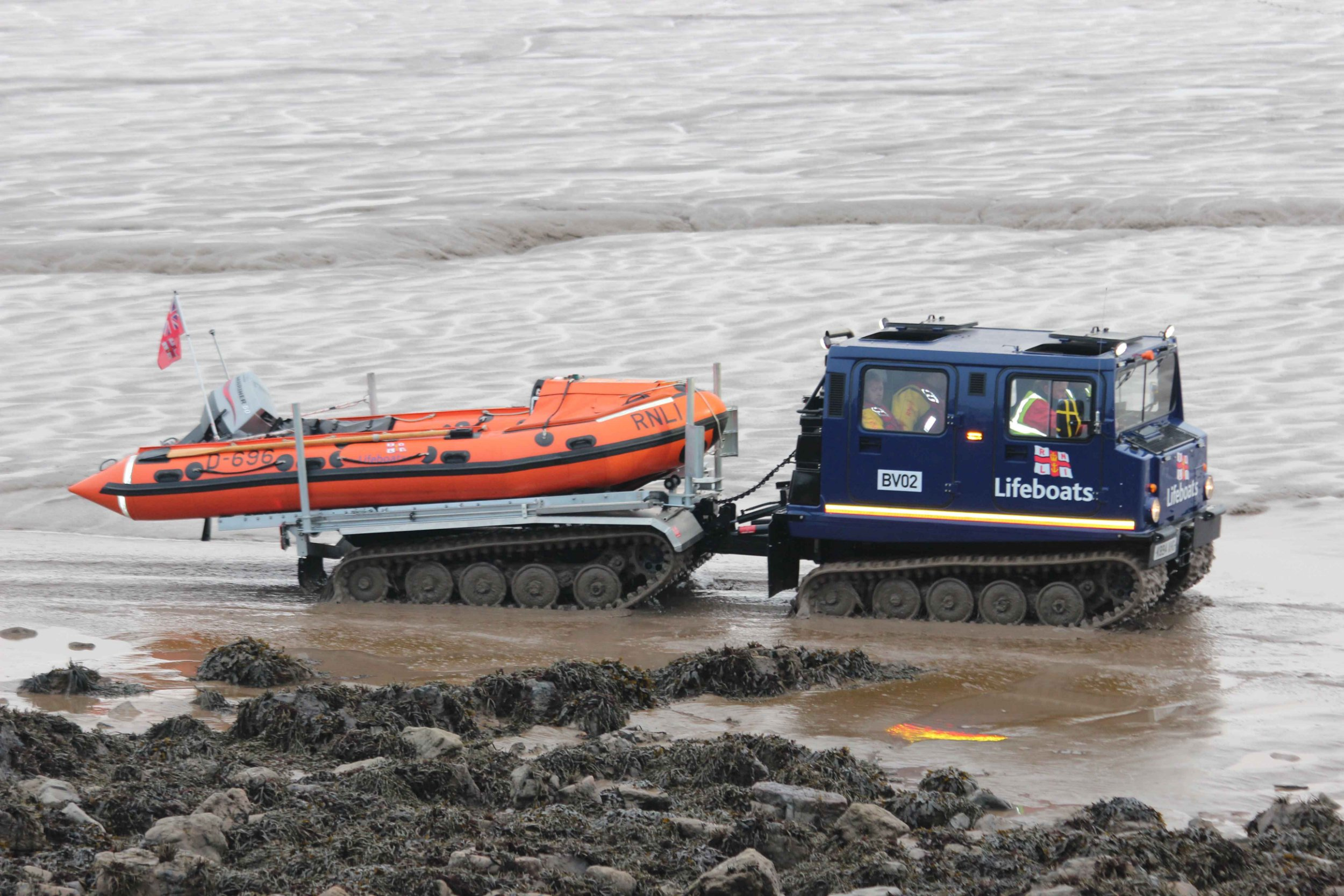 """A lifeboat crew was scrambled to rescue a group of fool-hardy Pokemon """"trainers"""" who became stranded on an island last night. See SWNS story SWRESCUE; Milford Haven Coastguard tasked Weston Lifeboat to people cut off by the tide on Birnbeck Island. While on the waters edge the Lifeboats stood down after seeing the people crossing the walkway heading back to the the shore. The people had put their lives in danger attempting to catch Pokemon."""