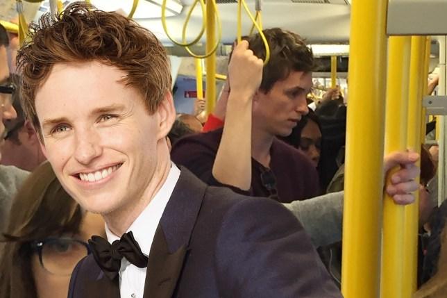 Eddie Redmayne takes the tube
