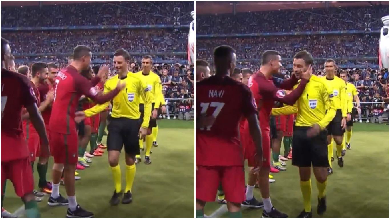 Cristiano Ronaldo can't resist celebrating with Mark Clattenburg at the end of Euro 2016 final