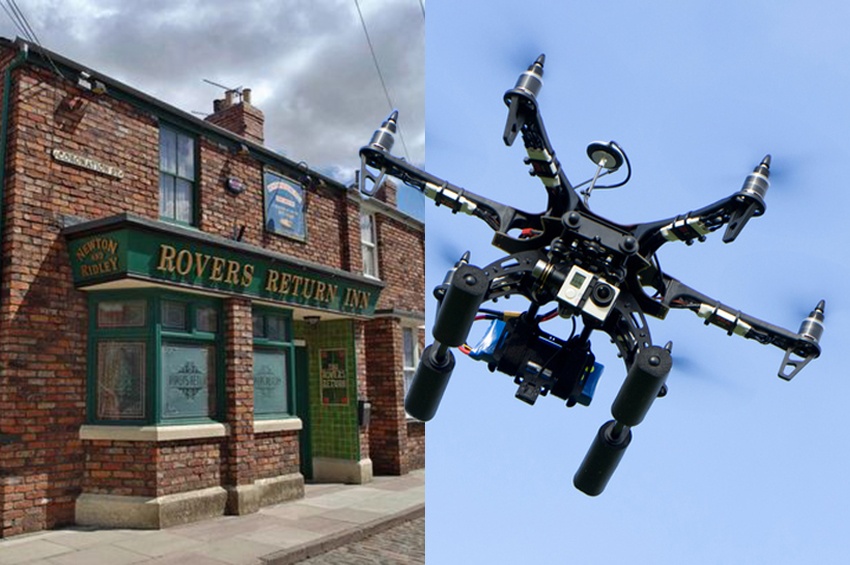 A drone crashed into the Corrie set Getty