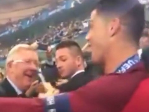 Cristiano Ronaldo and Nani hugged by former Manchester United boss Sir Alex Ferguson after Euro 2016 heroics