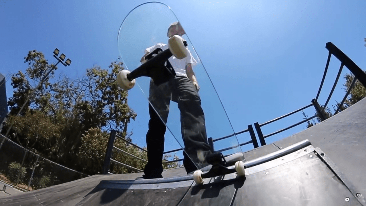In case it wasn't obvious, here's why you shouldn't ride a glass skateboard Picture: YouTube