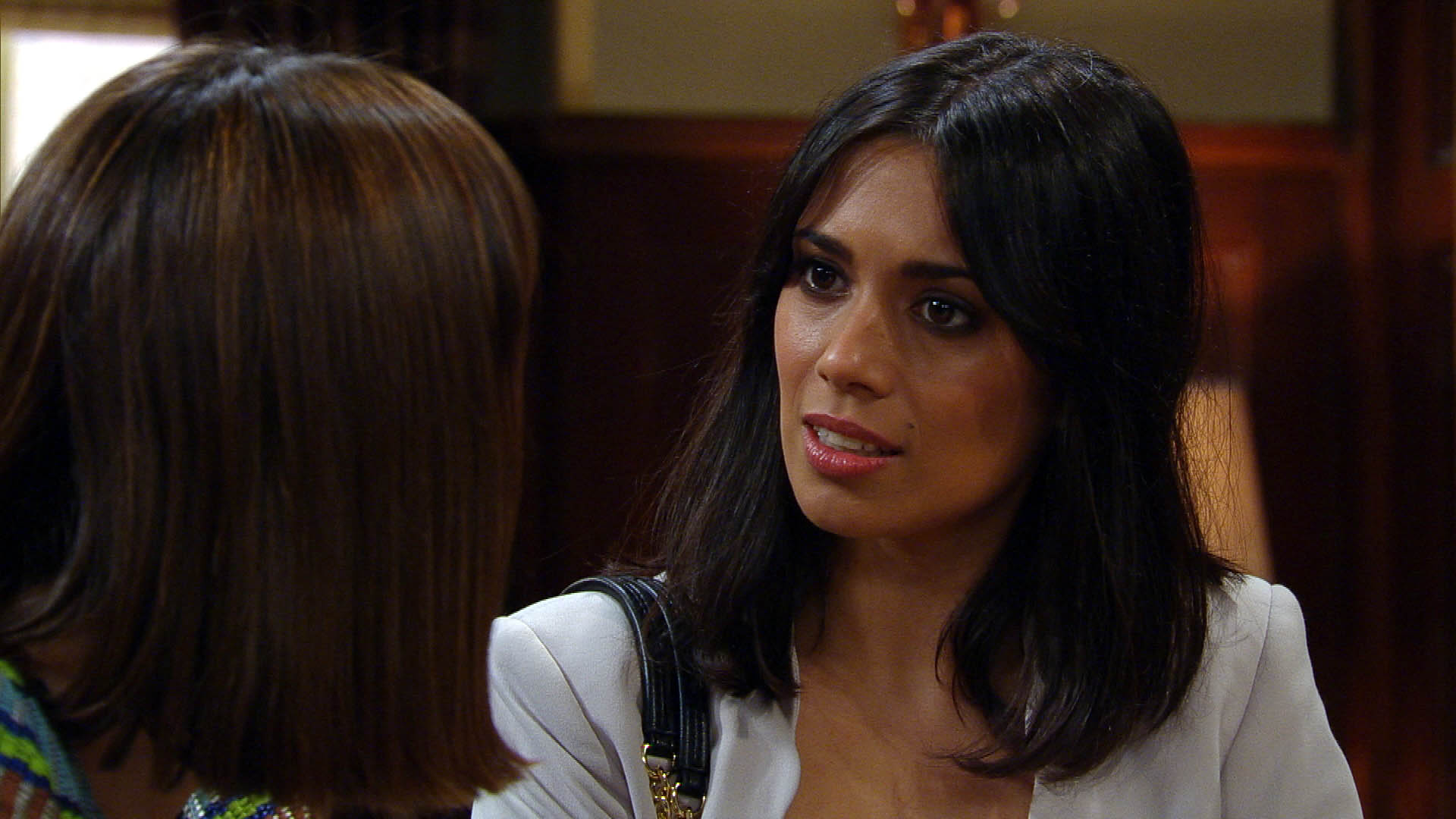 FROM ITV STRICT EMBARGO - NO USE BEFORE TUESDAY 16 AUGUST 2016 Emmerdale - Ep 7596 Wednesday 24 August 2016 Chrissie White [LOUISE MARWOOD] tells a shocked Priya Sharma [FIONA WADE] she hasn't bought the Mill but Priya thinks it's because Rakesh wouldn't sleep with her. Chrissie's furious but it's not far from the truth... Picture contact: david.crook@itv.com on 0161 952 6214 This photograph is (C) ITV Plc and can only be reproduced for editorial purposes directly in connection with the programme or event mentioned above, or ITV plc. Once made available by ITV plc Picture Desk, this photograph can be reproduced once only up until the transmission [TX] date and no reproduction fee will be charged. Any subsequent usage may incur a fee. This photograph must not be manipulated [excluding basic cropping] in a manner which alters the visual appearance of the person photographed deemed detrimental or inappropriate by ITV plc Picture Desk. This photograph must not be syndicated to any other company, publication or website, or permanently archived, without the express written permission of ITV Plc Picture Desk. Full Terms and conditions are available on the website www.itvpictures.com