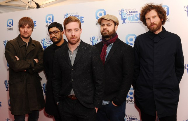LONDON, ENGLAND - NOVEMBER 20: (L-R) Andrew White, Vijay Mistry, Ricky Wilson, Nicholas 'Peanut' Baines and Simon Rix of The Kaiser Chiefs attend the Global Make Some Noise event at Supernova on November 20, 2014 in London, England. (Photo by Stuart C. Wilson/Getty Images)