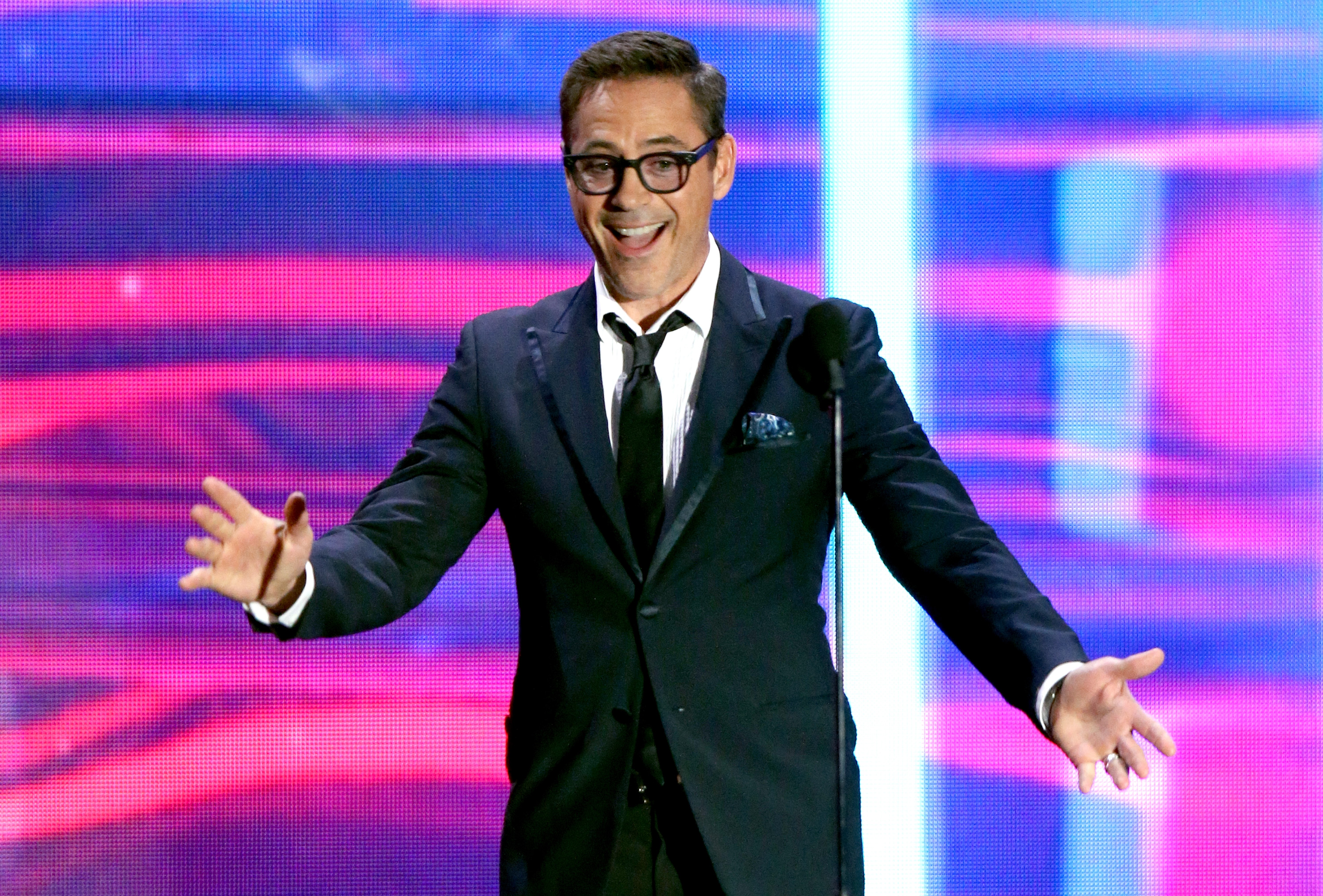 BEVERLY HILLS, CA - OCTOBER 30: Actor Robert Downey Jr. speaks onstage during the 2015 Jaguar Land Rover British Academy Britannia Awards presented by American Airlines at The Beverly Hilton Hotel on October 30, 2015 in Beverly Hills, California. (Photo by Mark Davis/Getty Images)