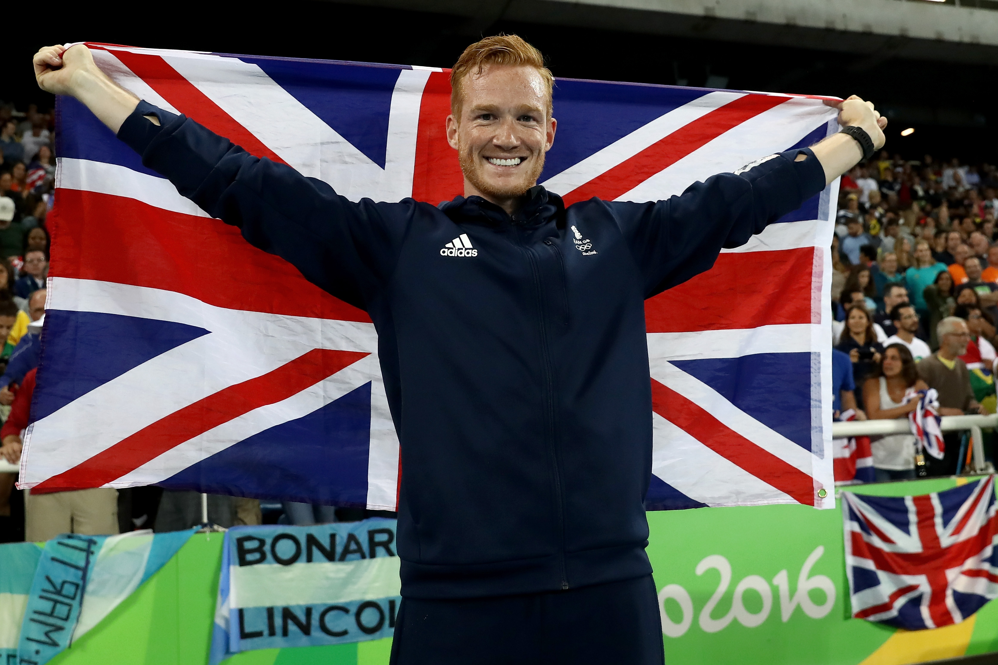 RIO DE JANEIRO, BRAZIL - AUGUST 13: Greg Rutherford of Great Britain celebrates after the Men's Long Jump Final on Day 8 of the Rio 2016 Olympic Games at the Olympic Stadium on August 13, 2016 in Rio de Janeiro, Brazil. (Photo by Alexander Hassenstein/Getty Images)