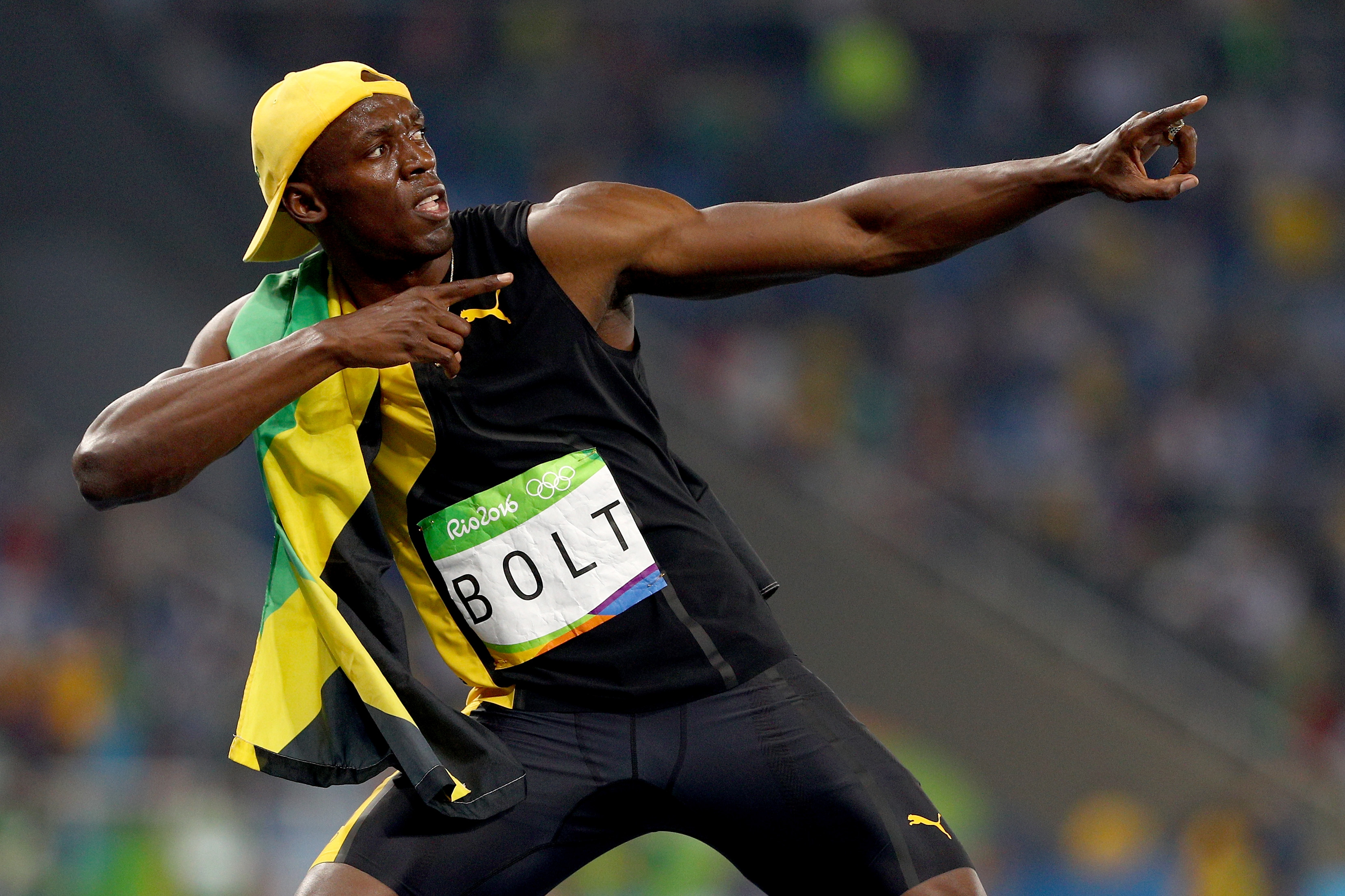 RIO DE JANEIRO, BRAZIL - AUGUST 14: Usain Bolt of Jamaica celebrates winning the Men's 100m Final on Day 9 of the Rio 2016 Olympic Games at the Olympic Stadium on August 14, 2016 in Rio de Janeiro, Brazil. (Photo by Ian Walton/Getty Images)