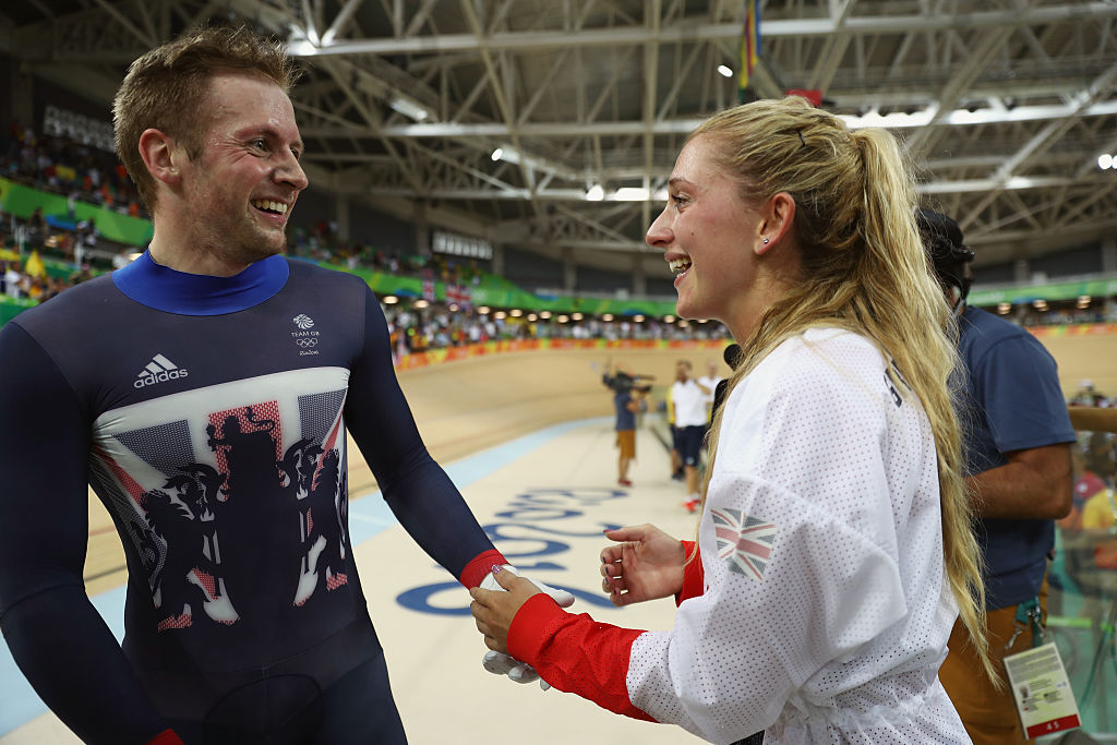 RIO DE JANEIRO, BRAZIL - AUGUST 16: Gold medalist Jason Kenny of Great Britain celebrates with girlfriend, cycling gold medalist Laura Trott of Great Britain, after the Men's Keirin Finals race on Day 11 of the Rio 2016 Olympic Games at the Rio Olympic Velodrome on August 16, 2016 in Rio de Janeiro, Brazil. (Photo by Bryn Lennon/Getty Images)