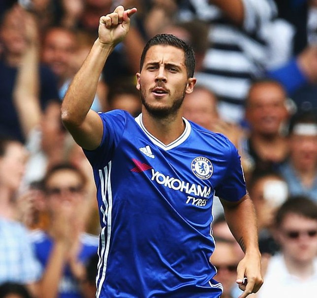 LONDON, ENGLAND - AUGUST 27: Eden Hazard of Chelsea celebrates scoring his sides first goal during the Premier League match between Chelsea and Burnley at Stamford Bridge on August 27, 2016 in London, England.  (Photo by Steve Bardens/Getty Images)