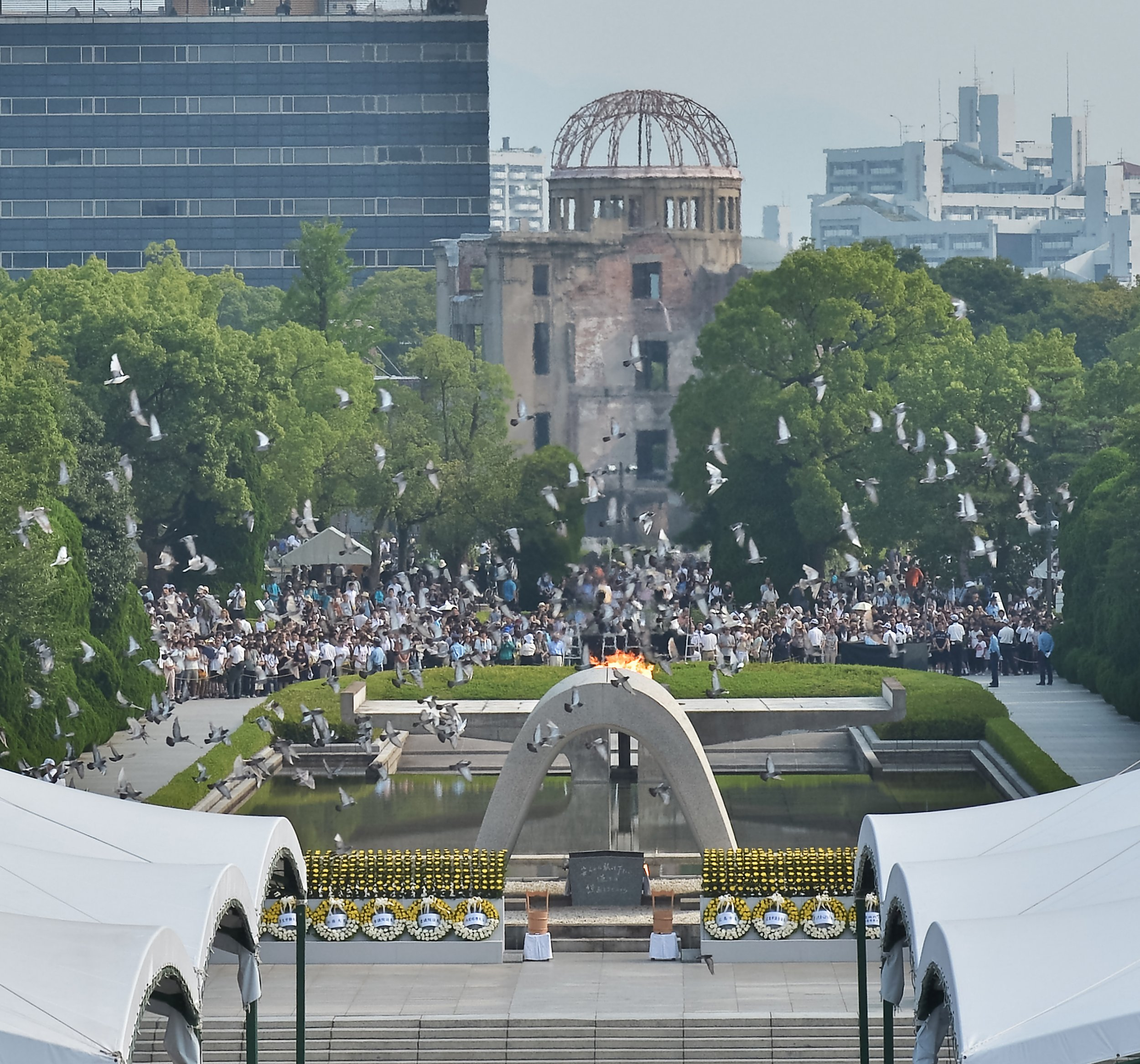 HIROSHIMA, JAPAN - AUGUST 06: People pray for the atomic bomb victims at Hiroshima Peace Memorial Park marking the 71th anniversary of the atomic bombing on August 6, 2016 in Hiroshima, Japan. PHOTOGRAPH BY Aflo / Barcroft Images London-T:+44 207 033 1031 E:hello@barcroftmedia.com - New York-T:+1 212 796 2458 E:hello@barcroftusa.com - New Delhi-T:+91 11 4053 2429 E:hello@barcroftindia.com www.barcroftimages.com