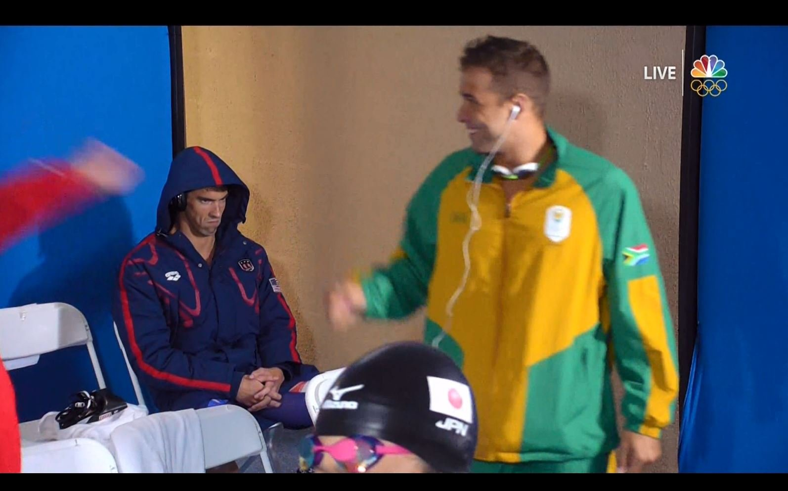 Michael Phelps did NOT look happy before Rio butterfly race