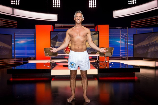 For use in UK, Ireland or Benelux countries only. BBC handout photo dated 13/08/2016 of Gary Lineker presenting Match of the Day in his underwear after he vowed to do so if underdogs Leicester City won the Premier League, which they did in May. PRESS ASSOCIATION Photo. Picture date: Saturday August 13, 2016. See PA story SOCCER Lineker. Photo credit should read: Guy Levy/BBC/PA Wire. NOTE TO EDITORS: Not for use more than 21 days after issue. You may use this picture without charge only for the purpose of publicising or reporting on current BBC programming, personnel or other BBC output or activity within 21 days of issue. Any use after that time MUST be cleared through BBC Picture Publicity. Please credit the image to the BBC and any named photographer or independent programme maker, as described in the caption.