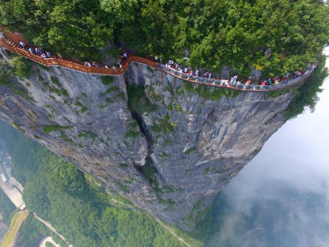 Would you dare walk on this 4,600ft high glass-bottomed walkway?