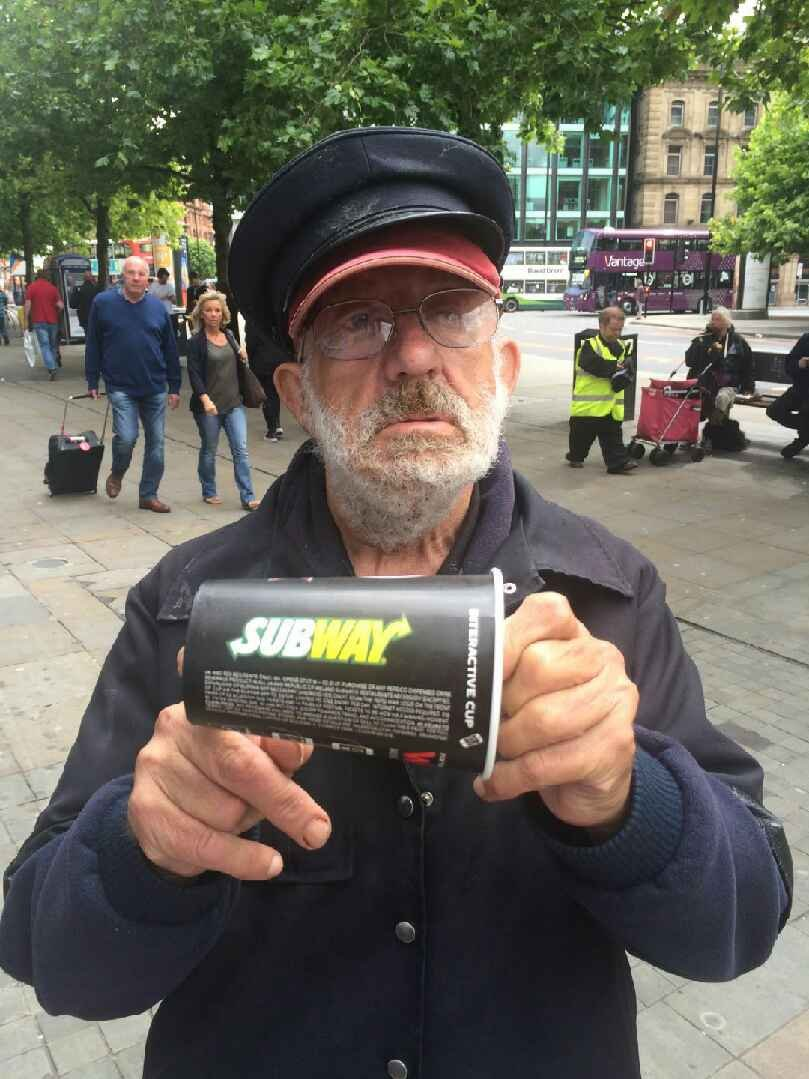 Piccadilly Rats dancer ëTommy Troubleí aka Tommy Piggot, 75, was charged £1.10 for an empty cup by the Piccadilly Gardens branch of Subway.
