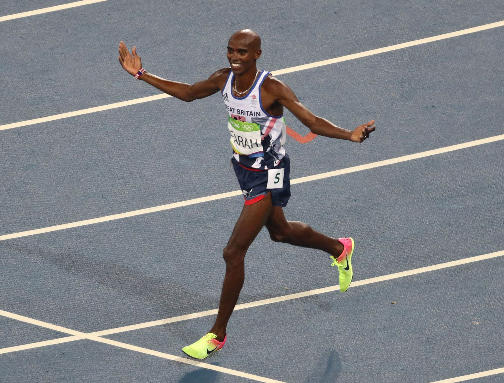 File photo dated 20-08-2016 of Great Britain's Mo Farah celebrates winning the Men's 5000m Final at the Olympic Stadium on the fifteenth day of the Rio Olympic Games, Brazil. PRESS ASSOCIATION Photo. Issue date: Monday August 22, 2016.  Farah, who is set to move over to the road after next year's World Championships in London, wrote his name into history with another two gold medals as he defended his 5,000m and 10,000m crowns, the second man to do so after Lasse Viren. See PA story OLYMPICS Athletics Review. Photo credit should read Owen Humphreys/PA Wire.