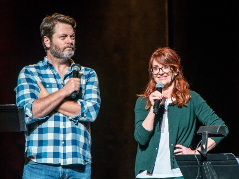 Parks and Recreation stars Nick Offerman and Megan Mullally promise a 'hint of fisting' with new show