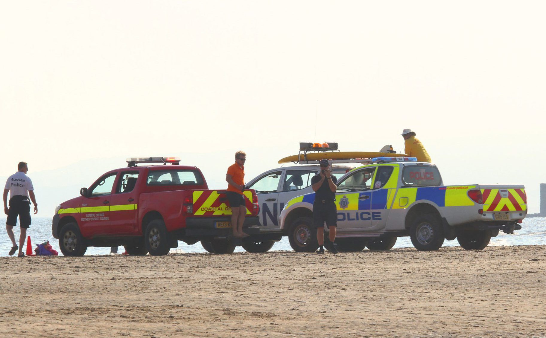 Mandatory Credit: Photo by Ingrid Abery/REX/Shutterstock (5848561k) Camber Sands Surf Lifeguards on duty after the death of five swimmers Surf Lifeguards on duty after the death of five swimmers, Camber Sands, Kent, UK - 27 Aug 2016