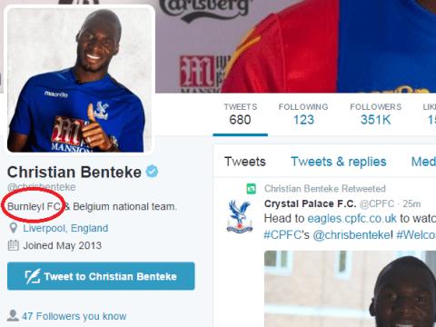 Christian Benteke thinks he's left Liverpool for Burnley rather than Crystal Palace