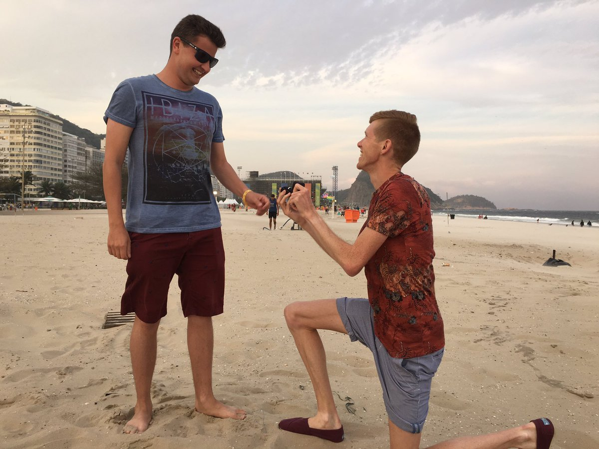 Team GB race walker Tom Bosworth proposes to boyfriend in Rio...he said yes. Picture: Twitter/@TomBosworth