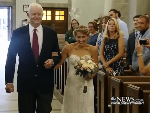 Bride escorted down the aisle by man who was donated her murdered father's heart