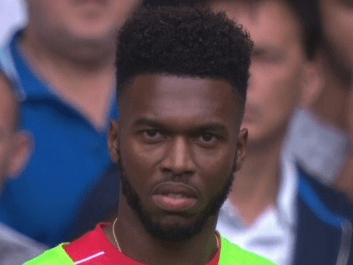 Liverpool's Daniel Sturridge shows disgust as Divock Origi is subbed on ahead of him