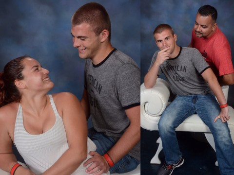 Dad recreates loved-up photo with daughter's uncomfortable looking boyfriend