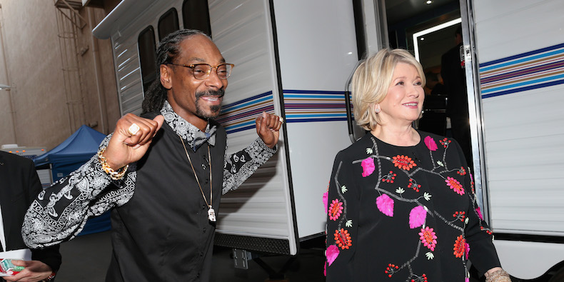 LOS ANGELES, CA - MARCH 14: Rapper Snoop Dogg and TV personality Martha Stewart attend The Comedy Central Roast of Justin Bieber at Sony Pictures Studios on March 14, 2015 in Los Angeles, California. (Photo by Christopher Polk/Getty Images)