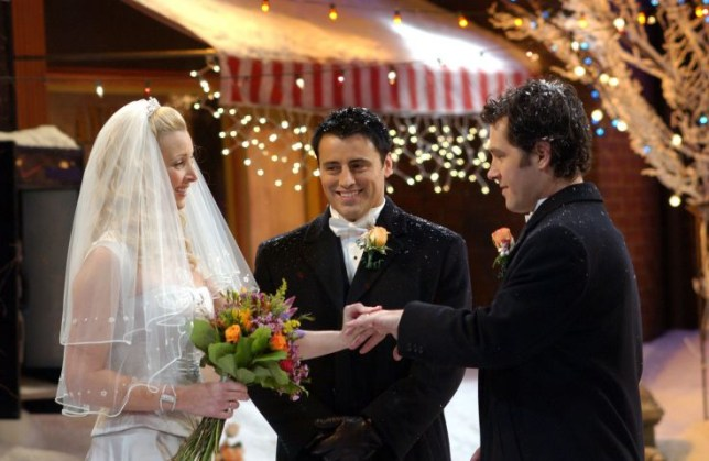 """TV PROGRAMME: 'FRIENDS' Year 10, Episode 12 """"THE ONE WITH PHOEBE'S WEDDING"""" Medium shot of Lisa Kudrow as Phoebe wearing wedding dress, Matt LeBlanc as Joey and Paul Rudd as Mike. Tx:23/04/2004 This picture may be used solely for Channel 4 programme publicity purposes in connection with the current broadcast of the programme(s) featured in the national and local press and listings. Not to be reproduced or redistributed for any use or in any medium not set out above (including the internet or other electronic form) without the prior written consent of Channel 4 Picture Publicity 020 7306 8685...London...United Kingdom"""