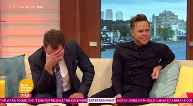 Richard Arnold was saying some bizarre things on Good Morning Britain to Olly Murs (Picture: ITV)