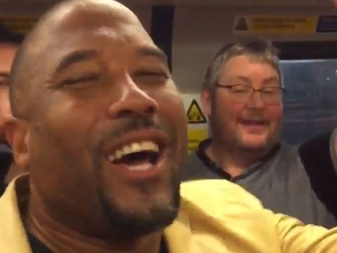 Liverpool fans and John Barnes recreate 'World in Motion' in tube singalong