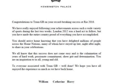 William, Kate and Harry have sent a personal letter to every member of Team GB